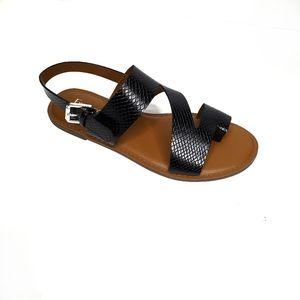 Franco Sorto Black and Brown Flat Sandals